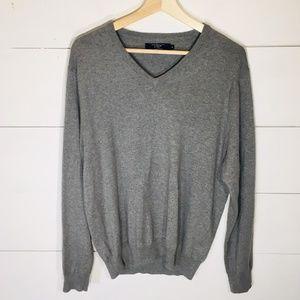 J. CREW Cashmere Blend Gray V-Neck Sweater MED